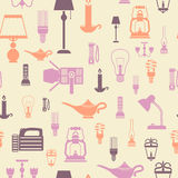 Flashlight and lamps seamless pattern. Flashlight and lamps electric bulbs seamless pattern vector illustration Stock Photos