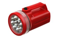 Flashlight red plastic Stock Photo