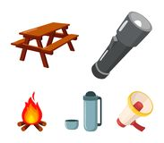 A flashlight, a table with a bench, a thermos with a cup, a caster. Camping set collection icons in cartoon style vector. Symbol stock illustration Stock Photography
