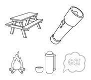 A flashlight, a table with a bench, a thermos with a cup, a caster. Camping set collection icons in outline style vector. Symbol stock illustration Royalty Free Stock Photography