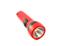 Flashlight Torch. Red Flashlight Torch isolated on white background stock photography