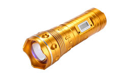 Flashlight Torch yellow metal Stock Images