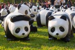 Flashmob de la panda en el parque de Lumpini Foto de archivo libre de regalías
