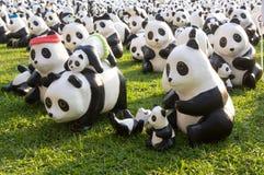 Flashmob del panda al parco di Lumpini Fotografia Stock Libera da Diritti