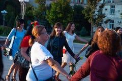 Flashmob femminile e giorno di bellezza Cerkasy l'Ucraina 20 settembre 2018 immagine stock
