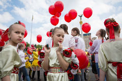 Flashmob Poppies of memory in Kyiv Royalty Free Stock Photo