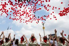 Flashmob Poppies of memory in Kyiv Royalty Free Stock Images