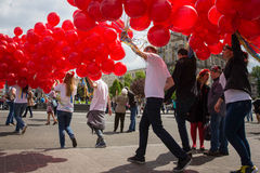 Flashmob Poppies of memory in Kyiv Stock Photo
