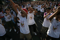 Flashmob. Teenagers do the flashmob in Solo, Central Java, indonesia Royalty Free Stock Image