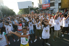 Flashmob. Teenagers do the flashmob in Solo, Central Java, indonesia Stock Photography
