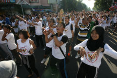 Flashmob. Teenagers do the flashmob in Solo, Central Java, indonesia Stock Images
