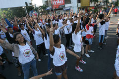 Flashmob. Teenagers do the flashmob in Solo, Central Java, indonesia Royalty Free Stock Photo