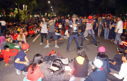 Flashmob. Teens dancing flashmob while celebrating the new year 2015 in the city of Solo, Central Java, Indonesia Stock Images