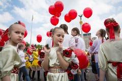 Flashmob vallmo av minnet i Kyiv Royaltyfri Foto