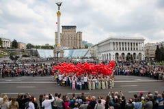 Flashmob vallmo av minnet i Kyiv Arkivfoton
