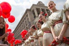 Flashmob vallmo av minnet i Kyiv Royaltyfria Foton