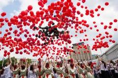 Flashmob vallmo av minnet i Kyiv Royaltyfria Bilder