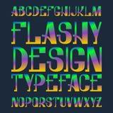 Flashy χαρακτήρας σχεδίου Συνδυασμένη ουράνιο τόξο πηγή χρώματος Απομονωμένο ζωηρόχρωμο αγγλικό αλφάβητο Στοκ εικόνα με δικαίωμα ελεύθερης χρήσης