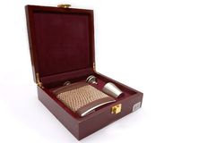 Flask. A box with a flask and accessories Royalty Free Stock Images