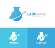 Flask and airplane logo combination. Laboratory and travel symbol or icon. Unique flight and science logotype design Royalty Free Stock Photos