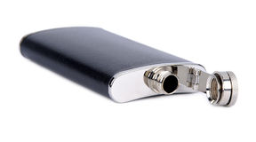 Flask for alcoholic drinks. On a white background stock photography