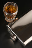 Flask And Cognac Stock Photo