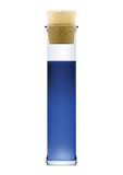 Flask with blue liquid and stopper in  Royalty Free Stock Photo