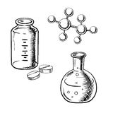 Flask, bottle, pills and molecular model sketch Stock Photography