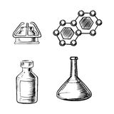 Flask, burner, bottle and molecule icons sketch Royalty Free Stock Images