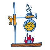Flask burning flame icon, hand drawn style royalty free illustration