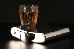 Flask and cognac Royalty Free Stock Images