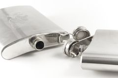 Flask for cognac and whisky from stainless steel Royalty Free Stock Photo
