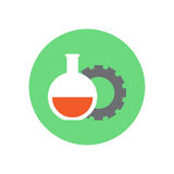 Flask and gear flat icon. Round colorful button, Research circular vector sign, logo illustration. Stock Image