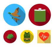 Flask, gilet with cartridges, flying ducks, tent.Hunting set collection icons in flat style vector symbol stock. Illustration Stock Photography