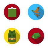 Flask, gilet with cartridges, flying ducks, tent.Hunting set collection icons in flat style vector symbol stock Stock Images