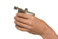 Flask in hand isolated on white Stock Image