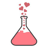 Flask with hearts. The concept of love chemistry or the elixir of love Stock Images