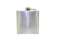 Flask. Hip flask isolated on white background, includes clipping path stock images