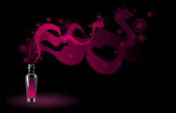 Flask of magic potion. Pink flask of magic potion on black background Royalty Free Stock Images