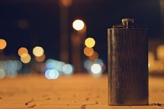 Flask on the night train station Stock Photos