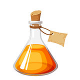 Flask with orange liquid. Vector illustration. Stock Photography