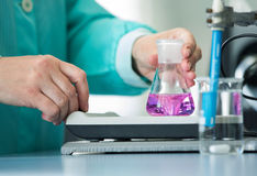 Flask in a pharmacology laboratory Royalty Free Stock Images