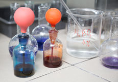 Flask in a pharmacology laboratory Stock Photo