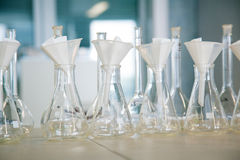 Flask in a pharmacology laboratory. Row of flasks in a pharmacology laboratory ready for tests Royalty Free Stock Images