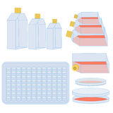 Flask and plates for cell cultivating Stock Photos