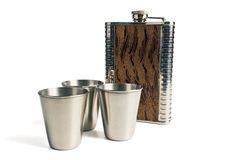 Flask and shot glasses Royalty Free Stock Images