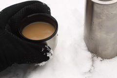 Flask in snow stock image