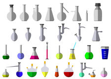 Flask and test-tube for chemical reagent. Eps10  illustration.  on white background Stock Images