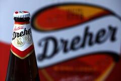 Flaska av öl, isolerat Birra lager, vit bakgrund arkivfoton