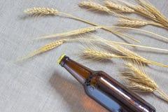 Flaska av öl och vete på att plundra Royaltyfri Foto